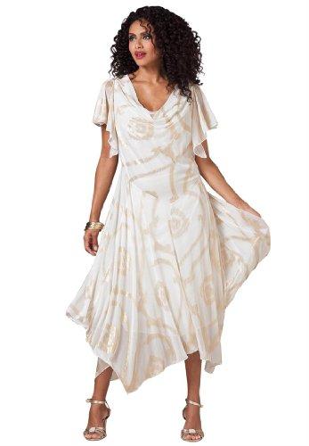 Roamans Women's Plus Size Uneven Hem Fit And Flare Dress With Foil Print (Ivory Bronze Multi,24 W)