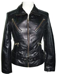 womens black leather biker jacket #Z4