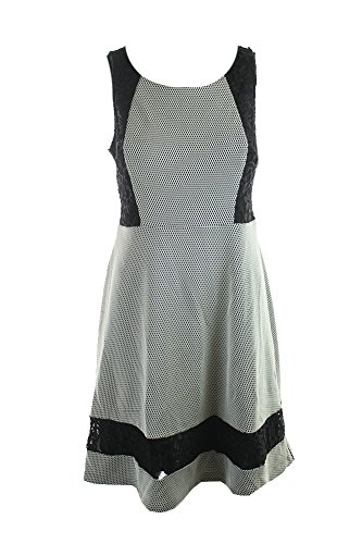 Jessica Simpson Black Ivory Sleeveless Lace Inset A-Line Dress