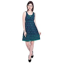 TUNTUK Women's Beatrig Dress Blue Cotton Dress