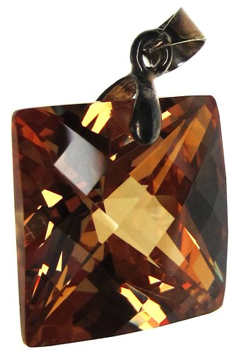 Bead Collection 41274 Cubic Zirconia Faceted Amber Square Pendant, 16mm