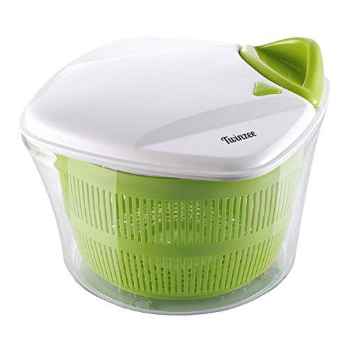 Idroestrattore per insalata e verdure di grande capacità (5 litri) Twinzee - Design innovativo con griglia di scarico dell'acqua e vaschetta insalatiera - Essiccazione facile ed efficace grazie alla maniglia da tirare.