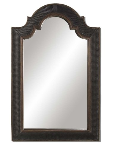 Uttermost Ribbed Arch Antique Crackled Antique Black With Antique Gold Trim Mirror