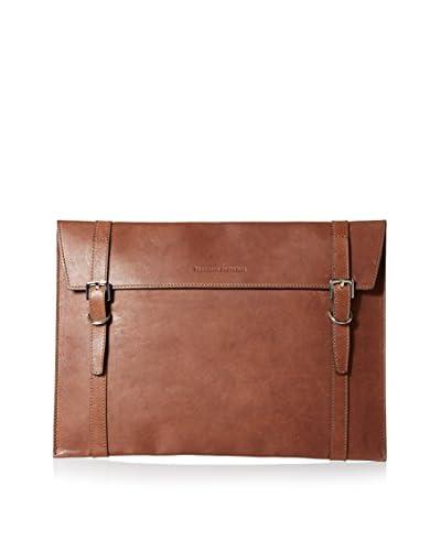 Brunello Cucinelli Men's Portfolio Case with Double Buckle Closure, Brown