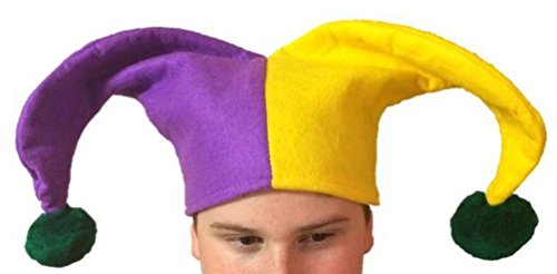 Mardi Gras Jester Hat Purple Green Yel Clown Costume Accessory Men Women Adult