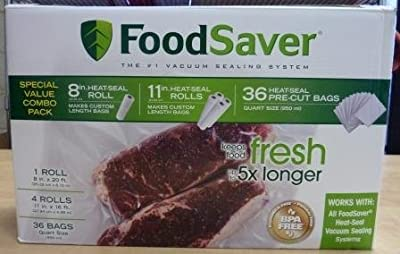 Foodsaver Special Value Vacuum Seal Combo Pack 1-8roll 4-11rolls 36 Pre-cut Bags from FoodSaver