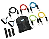 Kaizen Fitness 11 Pcs Resistance Bands Set - Includes FREE Access to Over 50 Fat Burning Exercise Videos - 5 Anti-Snap Bands, Form Handles, Ankle Straps, Door Anchor, Carry Case