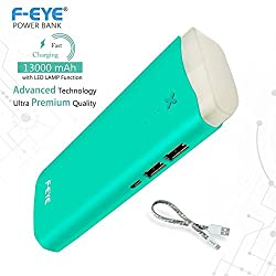 F-EYE® Power Bank for Mobile 13000mAh Battery Charger with Powerful LED Lamp& compatiable with Xiaomi,Sony,HTC,iPhone,Mi,Intex,Micromax,Gionee and other Smart