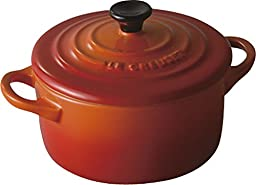 Le Creuset Stoneware Petite Round Casserole, 8-Ounce, Flame/Volcanic