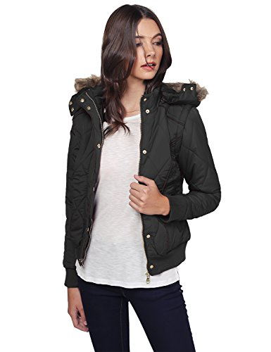 Quilted Puffer Jacket With Detachable Faux Fur Hood Black L Size (Fur Hood Coat compare prices)