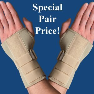 PAIR of Thermoskin Carpal Tunnel Braces with Dorsal Stay, Beige , Left & Right Medium