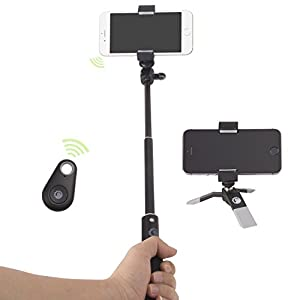 Gorilla Gear Complete Selfie Kit - Monopod, Mini Tripod, Camera Remote Shutter Button, Unique Holder - Portable Traveller Edition for Sports and General Use - Black