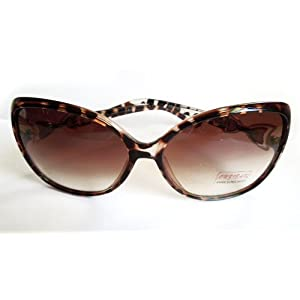Gradient Lens Sunglasses with Leopard Skin Sunglasses for Women