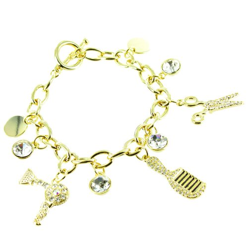 Clear Crystal On Gold Plated Hairdresser Charm Bracelet front-698652
