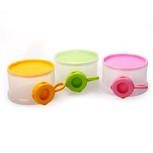 Portable Baby Milk Powder Dispenser Container 3 Layers Case Colorful + Clear