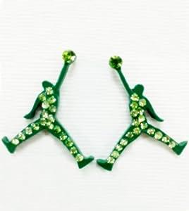 air matte earrings jumpman cz green