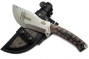 Premium Qualität - professionell Überlebensmesser, Gürtelmesser, Outdoor/Survival/Tactical Messer, Jagdmesser, Stahl MOVA-58, Lederscheide + Feuerstahl. Entworfen und Hergestellt in Spanien.