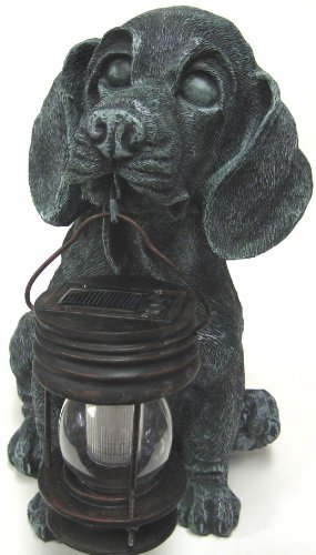 Black Hound Dog Carry Lantern Solar Light B5007