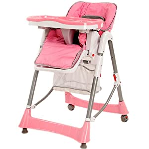 TecTake Baby highchair pink height adjustable from TecTake