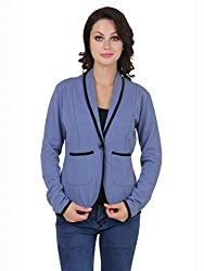Cherymoya Women's Cotton Jersey Jackets (CM-1400650_Sky Blue__Large)