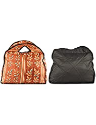 Bag Studio Satin 14 Cms Multicolour And Black Travel Handbag (Combo Of 2)
