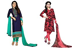 BanoRani Combo of Navy Blue & Tomato Red Color Cotton & PolyCotton Embroidered & Printed Unstitched Dress Material