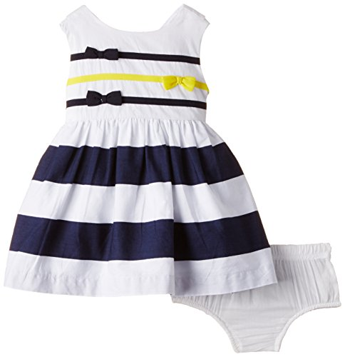Nauti Nati Baby Girls' Dress (NSS15-20_White and Navy_18 - 24 months)