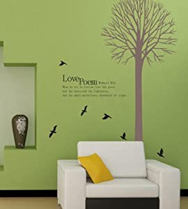 OneHouse Love Poem by Robert Bly Wall Decal Tall Tree with Black Birds Art Removable Wall Sticker from OneHouse