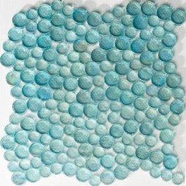 Susan Jablon Mosaics - Aqua Blue Iridescent Round Glass Mosaic