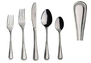 60 pc heavy weight stainless steel primrose flatware set service for 12 serving sets - Heavy stainless steel flatware ...