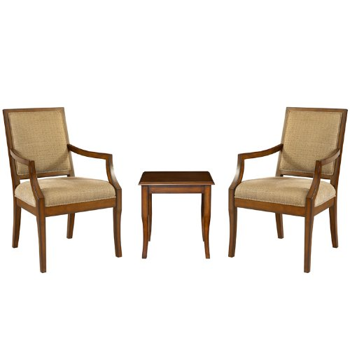 Image of Powell Rect-Back Accent Chairs with Light Cherry End Table, 3-Piece (411-891)