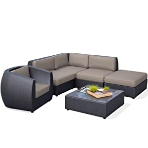 Amazoncom corliving pps 603 z seattle curved 6 piece for Curved sectional sofa amazon
