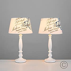 Pair Of - Shabby Chic Traditional White Spindle Base and Cream Vintage Blue Floral Cherub And Heritage Text Design Light Shade Table Lamps from MiniSun
