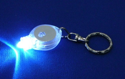 "Se Wht. Mini Led Light With Keychain 3/4"" Dia.,On/Off Switch"