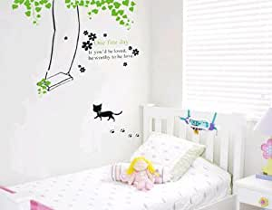 k tzchen schaukel gr ne ranken f r kinderzimmer. Black Bedroom Furniture Sets. Home Design Ideas