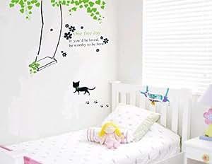 k tzchen schaukel gr ne ranken f r kinderzimmer wohnzimmer tv design wandtattoo aufkleber. Black Bedroom Furniture Sets. Home Design Ideas