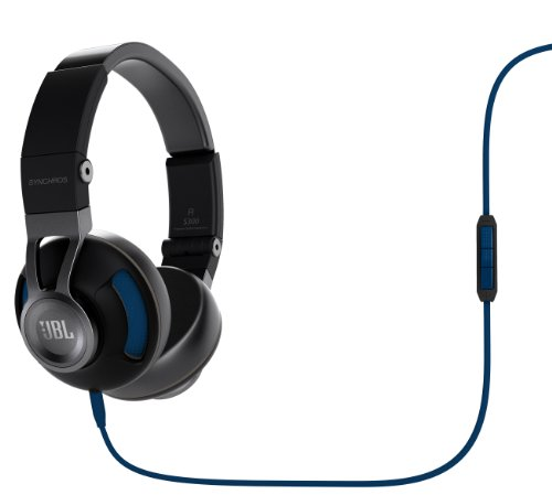Jbl Synchros S300 Premium On-Ear Stereo Headphones With Apple 3-Button Remote, Black/Blue