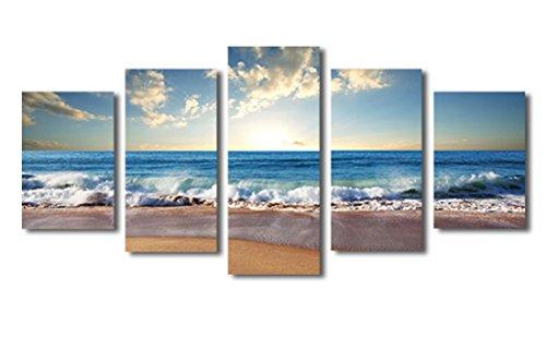 Haichuang-Decor-Art-5-Panels-Framed-Beach-Seascape-Canvas-Painting-for-Wall-Decor