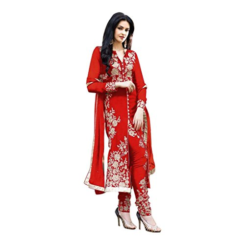 Fab Glory Womens Georgette Straight Dress Material (RED_Free Size)