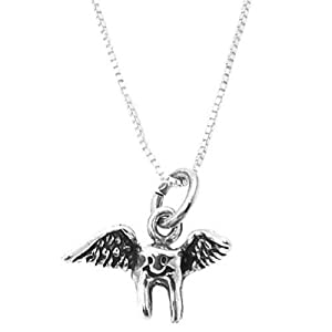Sterling Silver 3 Dimensional Tooth Fairy Necklace