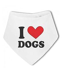 I Love Dogs heart - Baby Bandana Bib by BWW Print Ltd