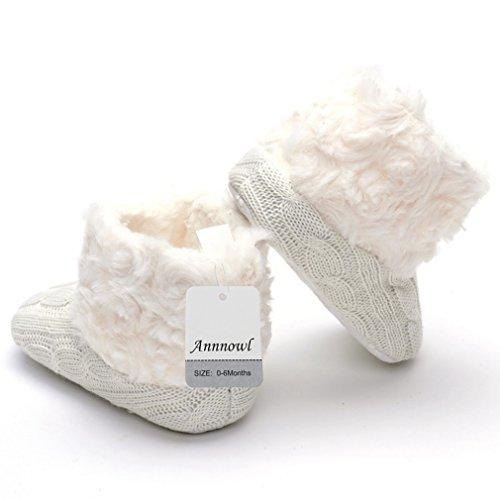 Annnowl Baby Girls Knit Soft Fur Winter Warm Snow Boots Crib Shoes 0-6 Months