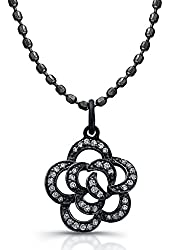 """Victoria Kay 1/8ct White Diamond Flower Pendant in Sterling Silver with Black Rhodium, 18"""""""