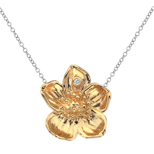 Hot Diamonds 18ct Yellow Gold Vermeil Buttercup Pendant length 43cm + 8cm extender