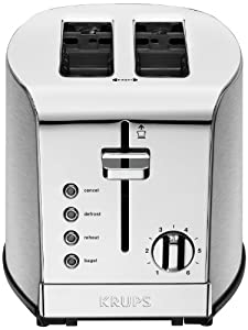KRUPS KH732 Breakfast Set 2-Slice Toaster with Brushed and Chrome Stainless Steel Housing, Silver