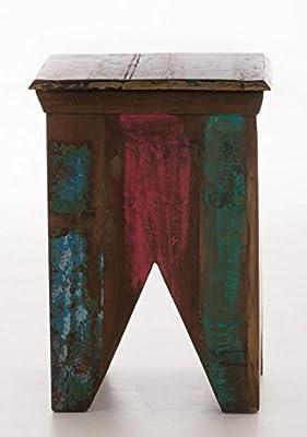 CLP wunderschöner Holz-Hocker TANEA aus massivem recyceltem Teakholz, jeder Hocker ist ein Unikat, 41x41 cm, Höhe 57 cm bunt von CLP bei Gartenmöbel von Du und Dein Garten
