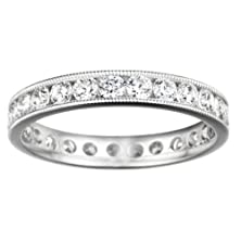 buy Sterling Silver Channel Set Round Eternity Band With Milgrained Edges Set With Diamonds G-H I2-I3 (0.25 Ct. Twt.)