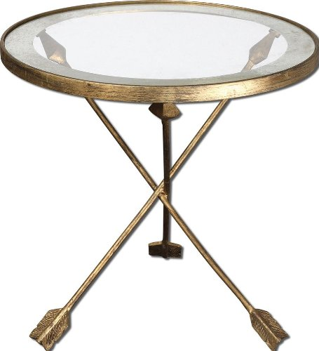 Antiqued Gold Leaf Aero Accent Table
