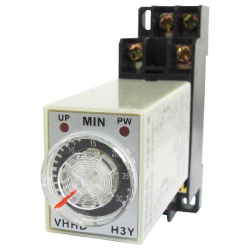 Dc 24V 30Min 0-30 Minute Delay Timer Time Relay H3Y-2 + 8 Pin Din Rail Socket