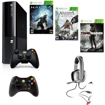 Xbox 360 250Gb Gaming Console With Assassins Creed Iv/Controller/Headset/More